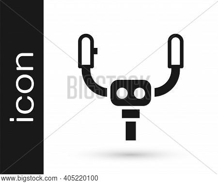 Black Aircraft Steering Helm Icon Isolated On White Background. Aircraft Control Wheel. Vector