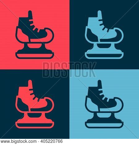 Pop Art Skates Icon Isolated On Color Background. Ice Skate Shoes Icon. Sport Boots With Blades. Vec
