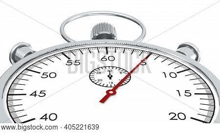 Stopwatch With Red Second Hand Approach To 5 Seconds, 3d Rendering