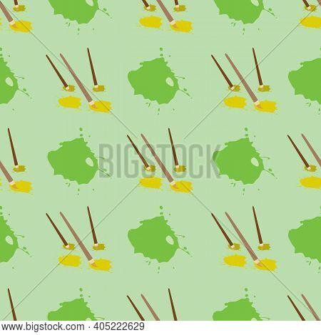 Vector Green With Paint Splats And Paint Brushes Seamless Pattern Background From Create Art Collect