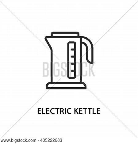 Electric Kettle Flat Line Icon. Vector Illustration Kitchen Appliances.