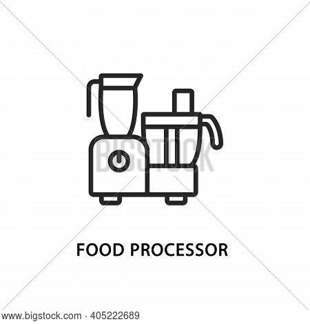 Food Processor Flat Line Icon. Vector Illustration Kitchen Appliances.
