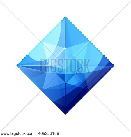 Vector Illustration Of Realistic Shiny Blue Jewel. Colorful Square Shape Jewelry Gemstone. Sapphire