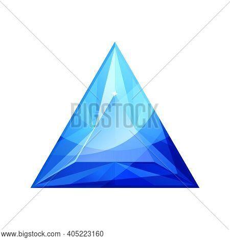 Vector Illustration Of Shiny Blue Diamond Jewel. Jewelry Gemstone. Sapphire Isolated On White. Jewel