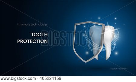 Snow White, Sparkling Tooth Protects Itself With A Shield Against Dental Diseases. Teeth Protection