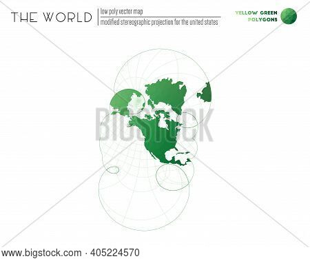 Vector Map Of The World. Modified Stereographic Projection For The United States Of The World. Yello