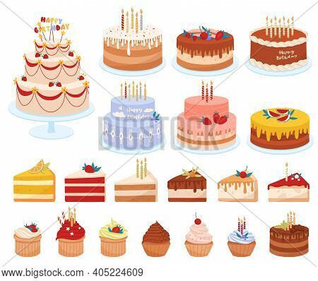 Delicious Desserts, Pastries, Cupcakes, Birthday Cakes With Celebration Candles And Chocolate Slices