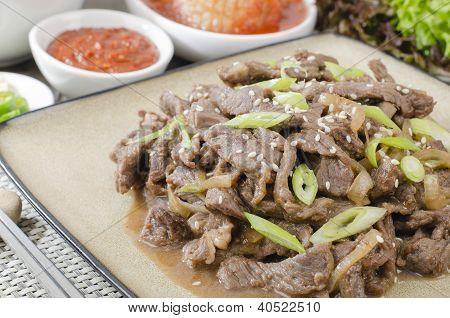 Beef Bulgogi - Korean marinated BBQ beef poster
