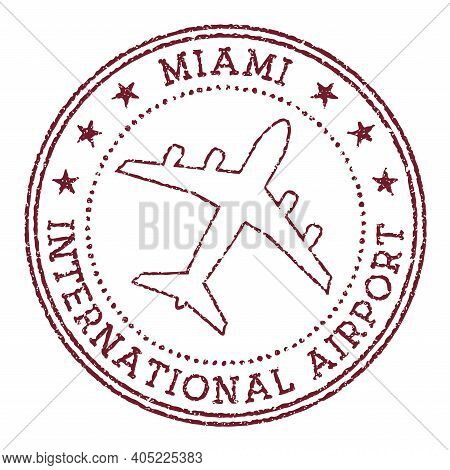 Miami International Airport Stamp. Airport Of Miami Round Logo. Vector Illustration.