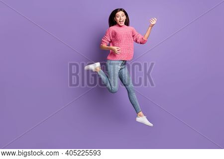 Full Length Body Size Photo Of Jumping High Female Rocker Pretending Playing Imaginary Guitar Isolat