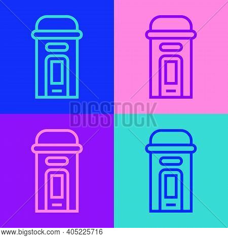 Pop Art Line London Phone Booth Icon Isolated On Color Background. Classic English Booth Phone In Lo