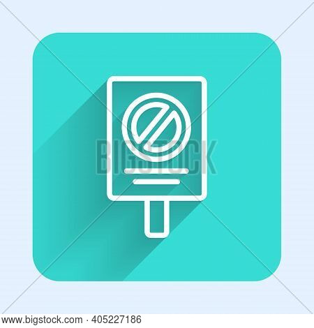 White Line Protest Icon Isolated With Long Shadow. Meeting, Protester, Picket, Speech, Banner, Prote