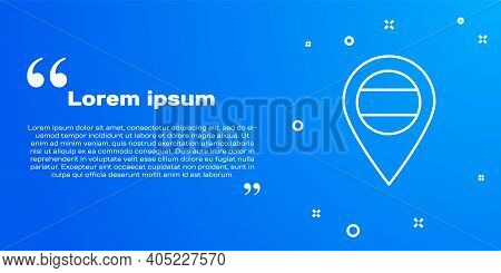 White Line Location Russia Icon Isolated On Blue Background. Navigation, Pointer, Location, Map, Gps