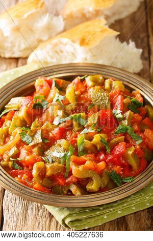 Taktouka Is A Traditional Moroccan Salad Composed Of Tomatoes, Bell Peppers, Garlic, Toasted Paprika
