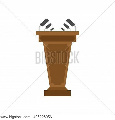 Tribune With Microphone Isolated. Tribune For Speeches Vector Illustration