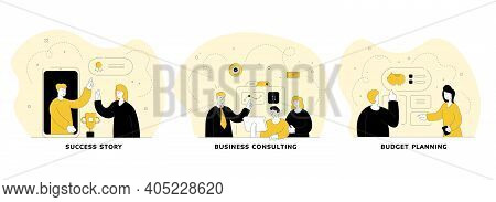 Budgeting Ans Successful Investment Flat Linear Vector Illustration Set. Success Story, Business Con