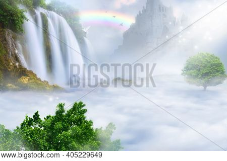 Paradise Kingdom Above The Clouds. Heaven Concept