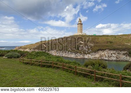 Torre De Hercules In La Coruna, Lighthouse Built By The Ancient Roman Empire 2000 Years Ago, In A Se