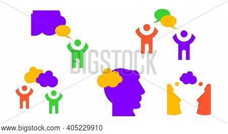 People Think, People Talk. The Man Is Praying. Flat Vector Illustration Isolated On White. Neon Colo