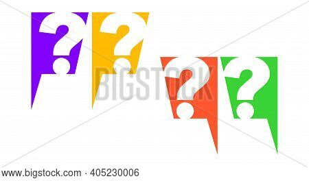 Question Mark In Chat Box Set. Flat Vector Illustration Isolated On White. Neon Colors.