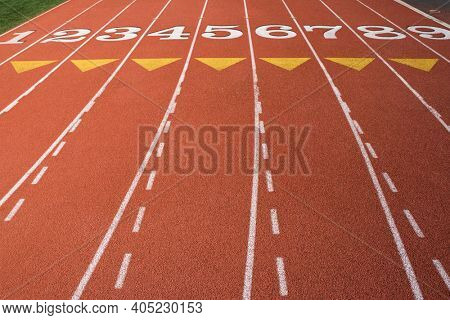 Detail of athletic tracking field