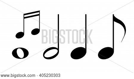 Black Musical Notes Isolated. Flat Vector Illustration Isolated On White.
