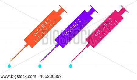 Three Vaccines To Choose From. Flat Vector Illustration Isolated On White.