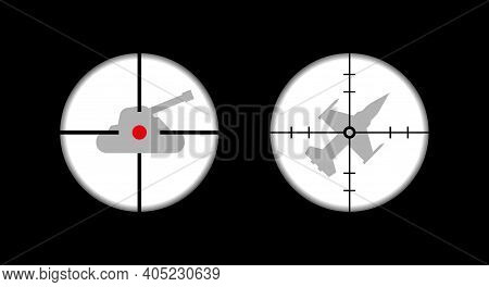 Tank In Sight, Fighter In Sight. Optical Sight. Military Optical Instrument. Flat Vector Illustratio