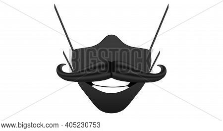 Male Black Medical Mask With Mustache. 3d Cartoon Vector Illustration.
