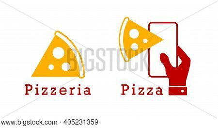 Pizzeria, Pizza Delivery. Flat Vector Illustration Isolated On White.