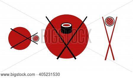Japanese Sushi Emblems. Flat Vector Illustration Isolated On White.