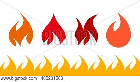 Fire Flame Icon Set. Flat Vector Illustration Isolated On White.
