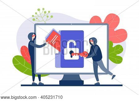 Hackers Hack And Steal Web Information Flat Vector Illustration. Characters In Hoods Open Virtual Pr