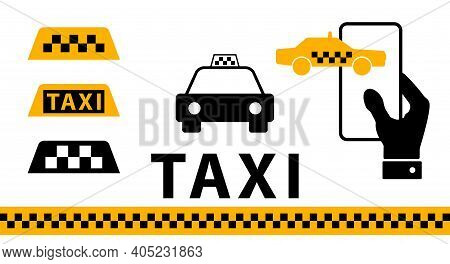 Taxi Icon Set. Taxi Service Signs. Flat Vector Illustration Isolated On White.