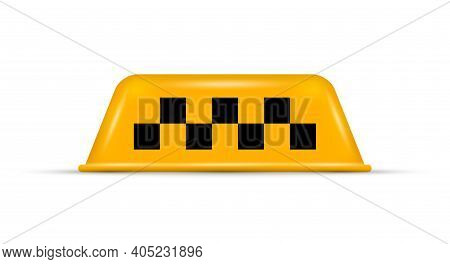 Taxi Car Roof Sign Isolated On White. 3d Realistic Vector Illustration.