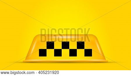 Taxi Car Roof Sign On Yellow Background. 3d Realistic Vector Illustration.