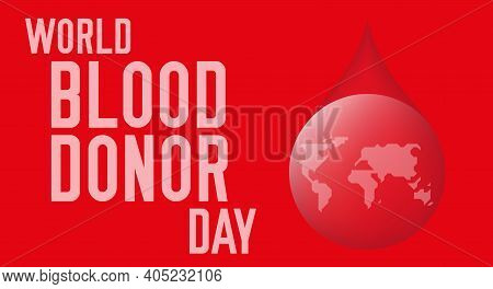 World Blood Donor Day. Vector Illustration, Red Background.