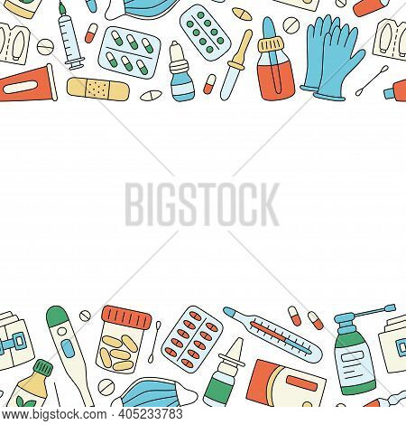 Meds, Drugs, Pills, Bottles And Health Care Medical Elements. Color Vector Illustration In Doodle St
