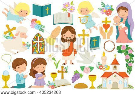 Christianity Clipart Bundle. Various Religious Symbols And Cartoon Characters Of Jesus, Mary, Cute A