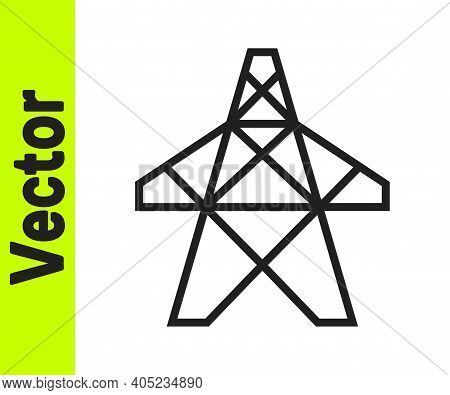Black Line Electric Tower Used To Support An Overhead Power Line Icon Isolated On White Background.