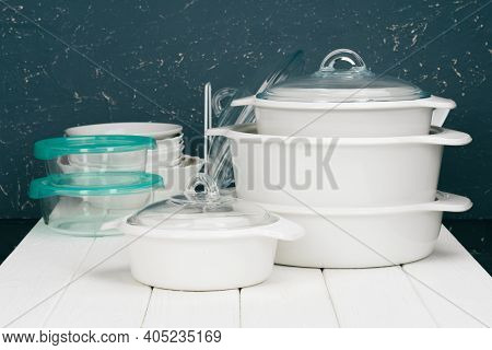 White Pot Cookware In A Kitchen Interior