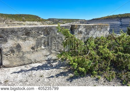 Big Stone Blocks. Abandoned Quarry. Stones In An Abandoned Quarry