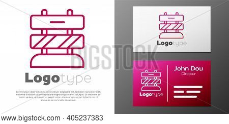 Logotype Line End Of Railway Tracks Icon Isolated On White Background. Stop Sign. Railroad Buffer En