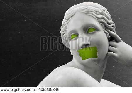 Ancient Greek marble sculpture taped lips aesthetic background