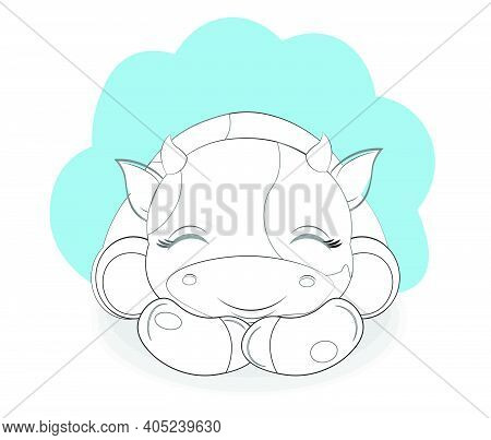 Coloring Book Cute Baby Big Eyes Calf, Picture In Hand Drawing Cartoon Style, For T-shirt Wear Fashi