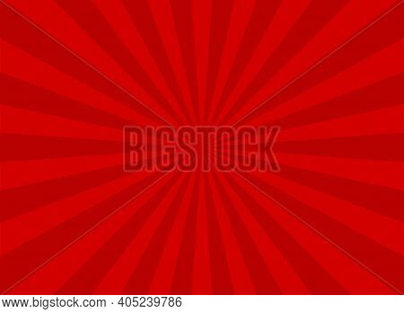 Sunlight Rays Horizontal Background. Bright Red Color Burst Background. Vector Illustration. Sun Bea