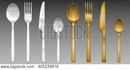 White Plastic And Wooden Cutlery Isolated On Transparent Background. Vector Realistic Set Of Flatwar