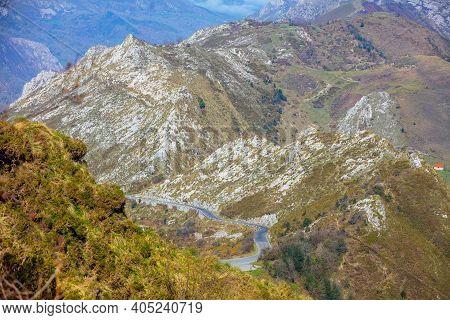 Mountain Rocky Landscape. The Cantabrian Mountains, Picos De Europa National Park, Spain