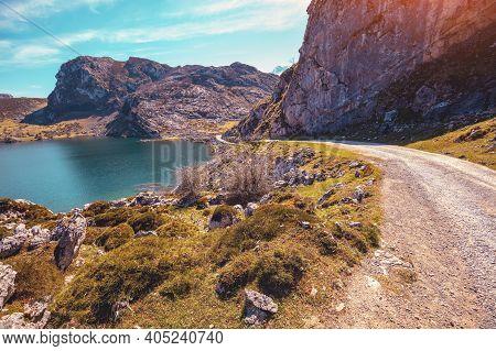 Beautiful Mountain Landscape. Peaks Of Europe (picos De Europa) National Park. A Glacial Lake Enol.