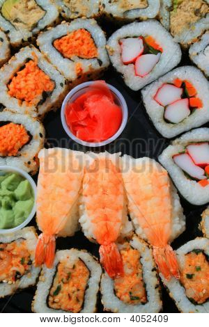 Close up of sushi assortment on a platter. poster